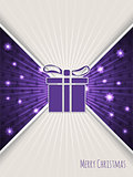 Christmas greeting with bursting purple christmas gift