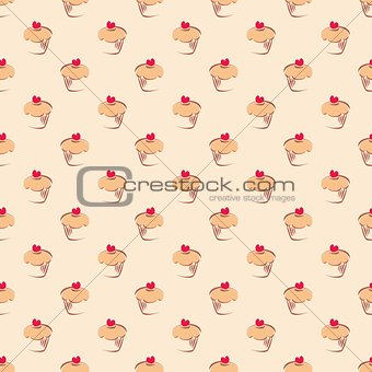 Tile vector pattern with cupcakes