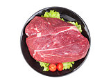 Fresh piece of raw beef isolated on white background. Top view