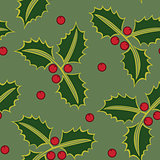 Seamless pattern holly green