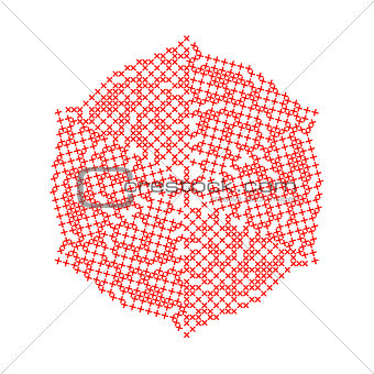 Abstract Christmas embroidered snowflake isolated on white background.