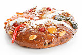 Christmas Bolo Rei or King Cake Over White