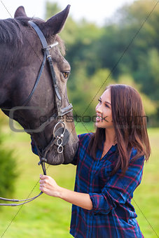 Beautiful Asian Eurasian Girl Woman With Her Horse