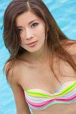 Sexy Chinese Woman Wearing Bikini in Swimming Pool