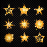 Gold glittering stars sparkling particles on transparent background. golden sparkles hallow tail. Vector glamour fashion illustration