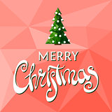 Beautiful Merry Christmas sign with tree