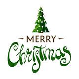Beautiful inscription Merry Christmas with a Christmas tree