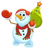 Funny Santa snowman holding Christmas tree