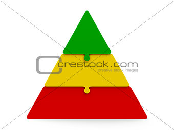 Three color puzzle pyramid