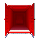 Open red shipping container. Front view