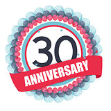 Cute Template 30 Years Anniversary with Balloons and Ribbon Vect