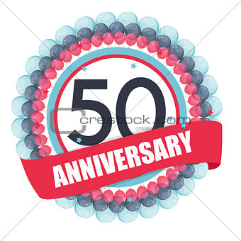 Cute Template 50 Years Anniversary with Balloons and Ribbon Vect