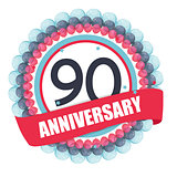 Cute Template 90 Years Anniversary with Balloons and Ribbon Vect