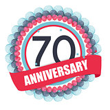 Cute Template 70 Years Anniversary with Balloons and Ribbon Vect