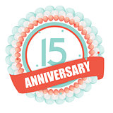Cute Template 15 Years Anniversary with Balloons and Ribbon Vect