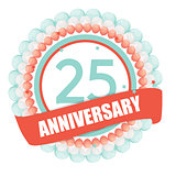 Cute Template 25 Years Anniversary with Balloons and Ribbon Vect