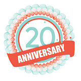 Cute Template 20 Years Anniversary with Balloons and Ribbon Vect