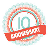 Cute Template 10 Years Anniversary with Balloons and Ribbon Vect