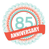 Cute Template 85 Years Anniversary with Balloons and Ribbon Vect