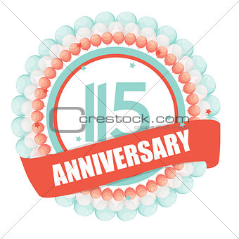 Cute Template 115 Years Anniversary with Balloons and Ribbon Vec