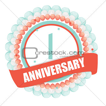 Cute Template 1 Years Anniversary with Balloons and Ribbon Vecto