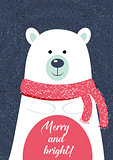 Christmas card template. illustration with polar bear. New Year collection. Greeting seasonal for scrapbooking and invitations.