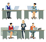 office workers, employee busy