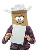 Man with smiling box over his head