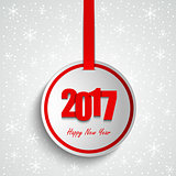 New Year wishes with round red label template