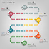 Time line info graphic with colored tortuous direction template