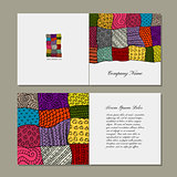 Greeting card, patchwork carpet design