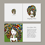 Greeting cards design, zenart female portrait