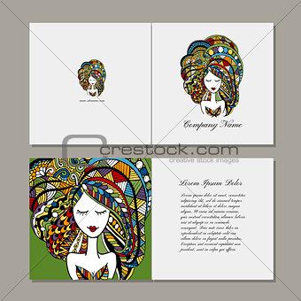 Greeting cards design, zenart female portrait