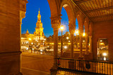 Plaza de Espana at night in Seville, Spain