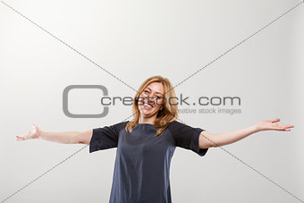 blonde real smiling woman with open arms