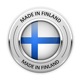 Silver medal Made in Finland with flag