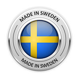 Silver medal Made in Sweden with flag