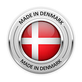 Silver medal Made in Denmark with flag