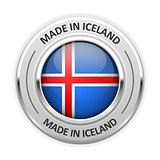 Silver medal Made in Iceland with flag