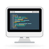Programming and coding icon - website development on screen
