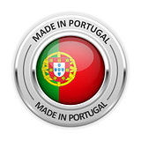Silver medal Made in Portugal with flag