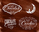 Set chocolate labels brown