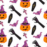 Halloween witch pumpkin vector seamless pattern.