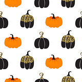 Halloween pumpkin vector seamless pattern.