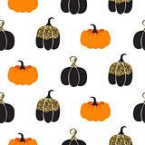 Halloween pumpkin vector seamless pattern.