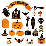 Halloween vector clipart set. Spooky pumpkin icons.