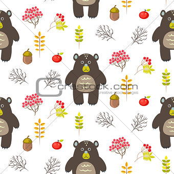 Bear in woods cartoon white seamless pattern.