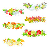 Autumn floral border vector set.