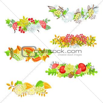 Autumn floral border vector set.
