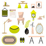 Home decor and furniture vector set flat style